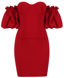 Puff Sleeve Bardot Bustier Dress Red