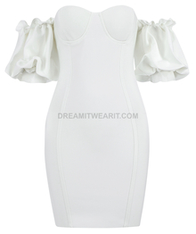 Puff Sleeve Bardot Bustier Dress White