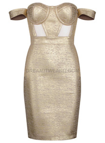 Bardot Woodgrain Foil Print Dress Gold