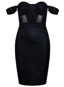 Bardot Woodgrain Foil Print Dress Black