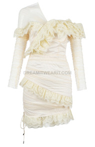 Long Sleeve Mesh Lace Dress Cream