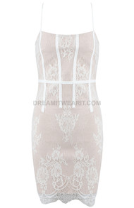 Scalloped Lace Dress Nude