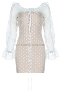 Mesh Sleeve Lace Up Dress White Nude