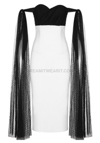 Mesh Detail Bardot Midi Dress Black White
