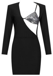 Long Sleeve Sequin Dress Black Silver