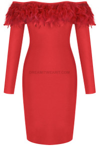 Long Sleeve Feather Bardot Midi Dress Red
