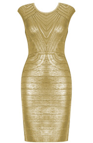 Woodgrain Foil Print Structured Dress Gold