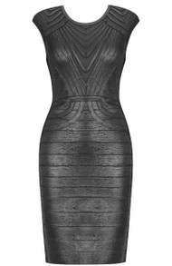 Woodgrain Foil Print Structured Dress Black