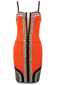 Embellished Dress Orange