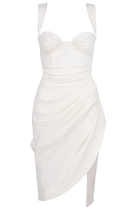 Bustier Draped Midi Dress White