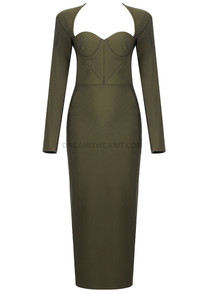 Long Sleeve Bustier Midi Dress Green