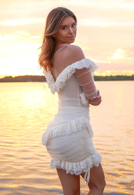 Long Sleeve Mesh Lace Dress White