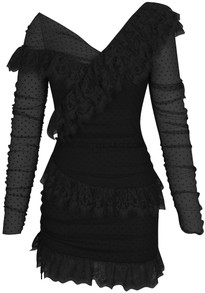Long Sleeve Mesh Lace Dress Black