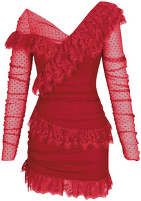 Long Sleeve Mesh Lace Dress Red