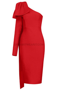 One Sleeve Bow Midi Dress Red