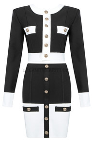 Long Sleeve Two Piece Dress Black White