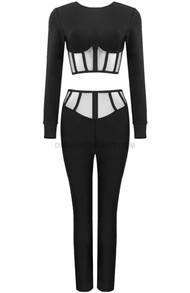 Mesh Insert Two Piece Jumpsuit Black