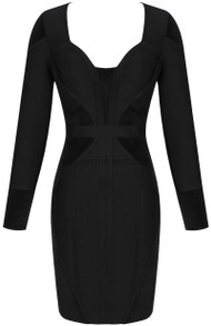 Long Sleeve Structured Dress Black