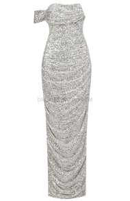 Draped Bardot Sequin Maxi Dress Silver