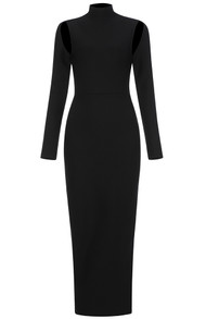 Long Sleeve Backless Maxi Dress Black