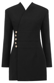 Button Detail Blazer Dress Black