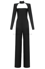Long Sleeve Choker Detail Jumpsuit Black