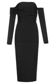 Long Sleeve Ruched Bardot Midi Dress Black