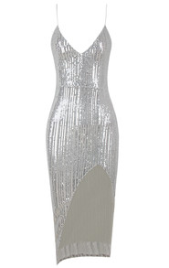 Sequin Midi Dress Silver