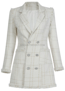 Frayed Blazer Dress Ivory