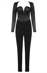 Long Sleeve Bustier Corset Jumpsuit Black