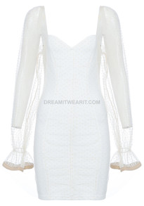 Mesh Sleeve Dress White Nude