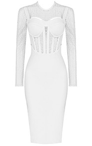 Long Sleeve Structured Lace Midi Dress White
