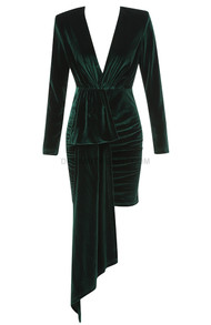 Long Sleeve Ruched Velvet Dress Green