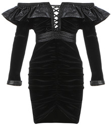 Long Sleeve Frill Bardot Velvet Dress Black