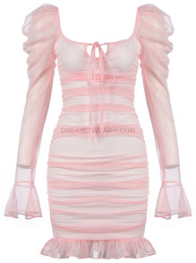 Puff Sleeve Ruched Mesh Dress Pink