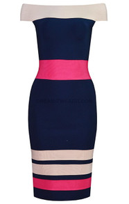 Bardot Midi Dress Blue Nude Pink