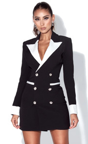 Contrast Blazer Dress Black White