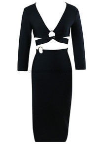 Long Sleeve Cut Out Midi Dress Black