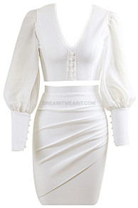 Puff Sleeve Two Piece Dress White