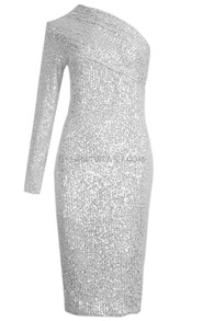 One Sleeve Sequin Midi Dress Silver