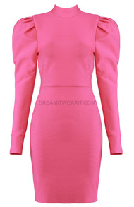 Puff Sleeve Dress Hot Pink