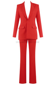 Pocket Detail Suit Red