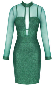 Long Sleeve Mesh Glitter Midi Dress Green