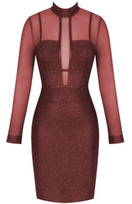 Long Sleeve Mesh Glitter Midi Dress Burgundy