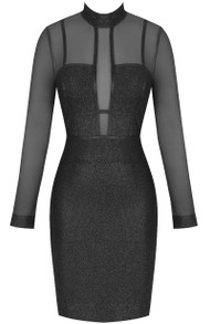 Long Sleeve Mesh Glitter Midi Dress Black