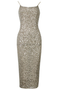 Sequin Backless Midi Dress Gold