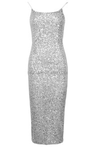 Sequin Backless Midi Dress Silver