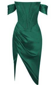 Bardot Structured Draped Midi Satin Dress Green