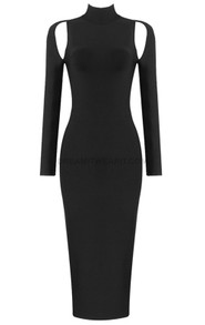 Long Sleeve Cut Out Backless Midi Dress Black