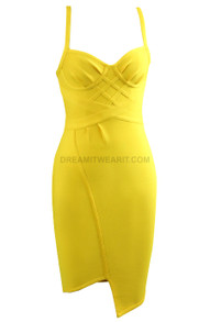 Bustier Structured Dress Yellow